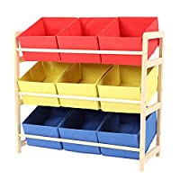 GOTOTOP 3-Tier Toy Storage Shelf, Kids Toy Storage Unit Rack Shelf Cabinet Containers Children Clothes Organizer with 9 Removable Boxes, 64x28.5x60cm