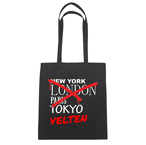 JOllify Velten Borsa di cotone B2207 schwarz: New York, London, Paris, Tokyo schwarz: Graffiti Streetart New York