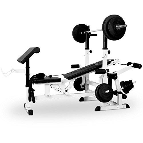 Klarfit FIT-KS02 banco de musculación con curler (entrenamiento para cuerpo entero, butterfly, 280 kg de carga máxima, fácil montaje, respaldo ajustable, cable-polea) - blanco