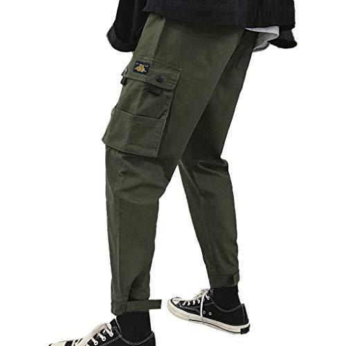 ODRD Herren Tactical Pants Workout JeansMänner beiläufige Baumwolle lose Reine Farbe Plus Größe im Freien Sport Overall Lange Hose Hose Jogging Pants Jogginghose Sweatpants Sport
