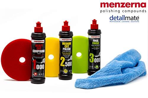 "detailmate Menzerna Autopolitur Set: 1000er + 2500er + 3000er Körnung, 250ml + passende Polier Pads: Soft + Medium + Heavy 150 mm / 6.0\"" + Flauschiges Mikrofaser Poliertuch 40x40 cm, 450 GSM"