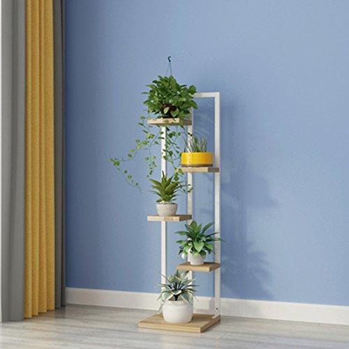 Scaffali porta piante xulanshangpu mensola per fiori in metallo balcone per interni a più livelli ripiani soggiorno con ruote portavaso per fiori (colore : bianca)