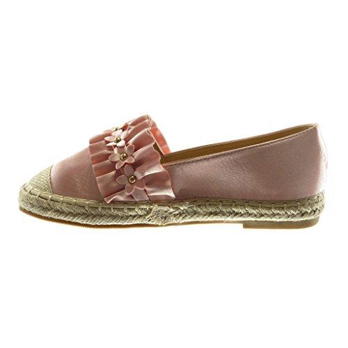 Angkorly Damen Schuhe Espadrilles - Slip-On - Nieten - Besetzt - Blumen - mit Rüschen Blockabsatz 2 cm Rosa