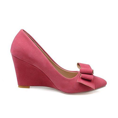 AgooLar Femme Tire Suédé Pointu à Talon Haut Couleur Unie Chaussures Légeres Rose