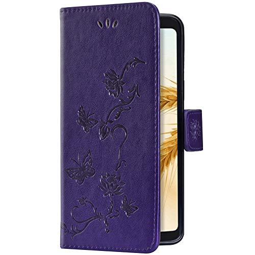 Uposao Kompatibel mit Huawei P Smart Z Hülle Brieftasche Handyhülle Schmetterling Blume Leder Schutzhülle Wallet Flip Book Case Handytasche Ständer Ledertasche Kartenfächer Magnet,Violett