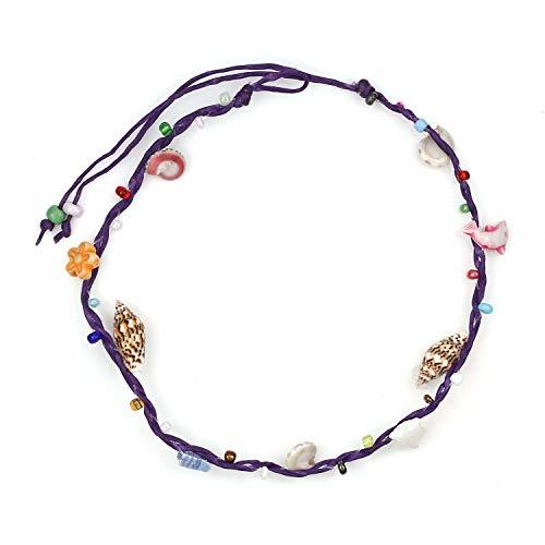 Idin Jewellery Cavigliere Conchiglie fatte mano con perline multicolore Cavetto viola con cavo di cera