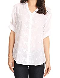 Sakkas Isabella V-Neck Button up Roll Sleeve Floral Embroidered Shirt