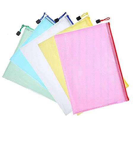 5 Pieces A4 Size Mesh Document Bag Zip File Bag with Zipper for Cosmetics Offices Supplies Travel Accessories, 5
