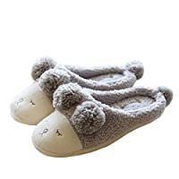 Candora Winter Soft Fuzzy Slippers Faux Fur Slip On Novelty Sheep Face Womens Mule Slippers Indoor Skidproof Cotton Slipper with Tail
