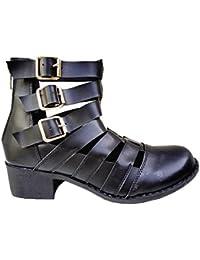 a988a96c738cc Bottine ouverte ajourée talon motard femme chaussures zip boots cut out  PM-139 NOIR