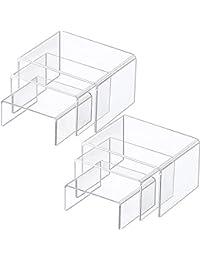 2 Juegos de Expositor de Elevador de Acrílico, Expositores de Joyería Exhibidores de Escaparate (Transparente, Juego Medium)