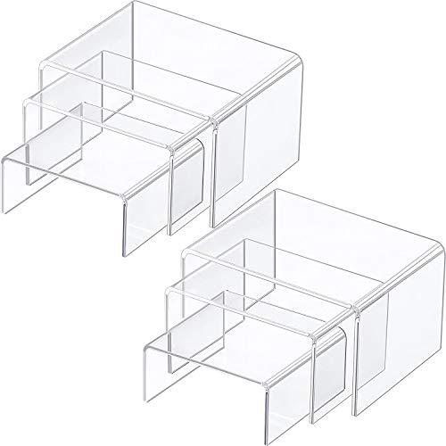 Chuangdi 2 Juegos de Expositor de Elevador de Acrílico, Expositores de Joyería Exhibidores de Escaparate (Transparente, Juego Medium)