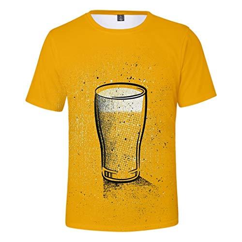 eer Festival Printing Rundhals Kurzarm T-Shirt Tops(Gelb,XXXXL) ()
