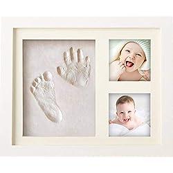 BraceTek Cadre Empreintes Bébé, Kit Empreinte Bebe Mains pour Liste de Naissance, Souvenirs mémorable Décorations murale ou pour table, argile et cadres
