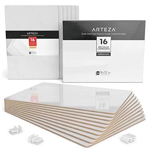 ARTEZA Schreibtafel | 23cm x 30cm Doppelseitiges Whiteboard | Set mit 16 Stück | Weiße Trocken Abwischbare Tafel | Ideal für Lehrer, Schüler, Unterricht, Präsentationen, Büroarbeit