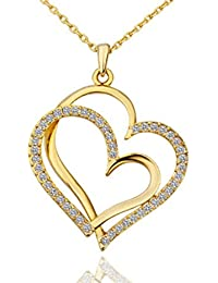 Maryam Heart Necklace Pendant Jewellery 18k Gold Plated Pendant With Chain For Women And Girls