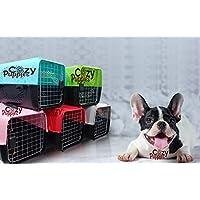 Cozy Puppies Pet Travel Carrier Dog Cat Rabbit Basket Plastic Handle Hinged Door Folding Collapsible Transport Box Crate…