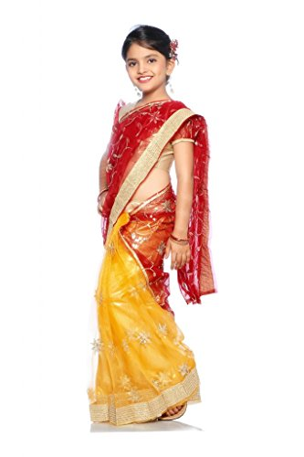 Bhartiya Paridhan Net Saree (BF127_CHANDNI_SIZE28_6-7YRS_Yellow_Free Size)