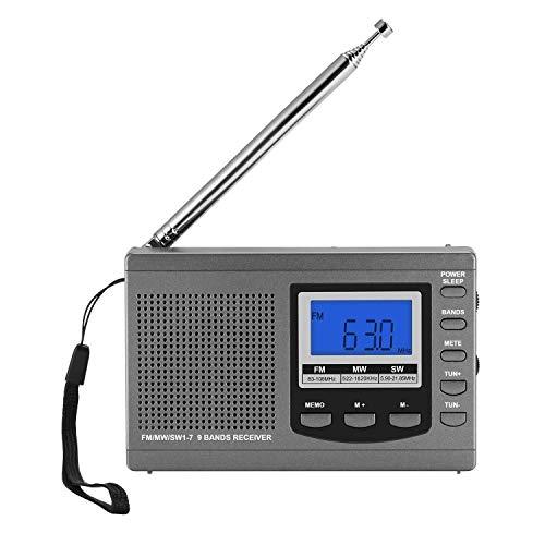 Radio Spieler Pocket Mini Tragbares AM/FM/MW/SW-Radio Wiederaufladbar, AM-FM-Personal-Radio mit Kopfhörer, Antenne und LED-Bildschirm Radio FM-Empfängeruhr (Color : Silver)