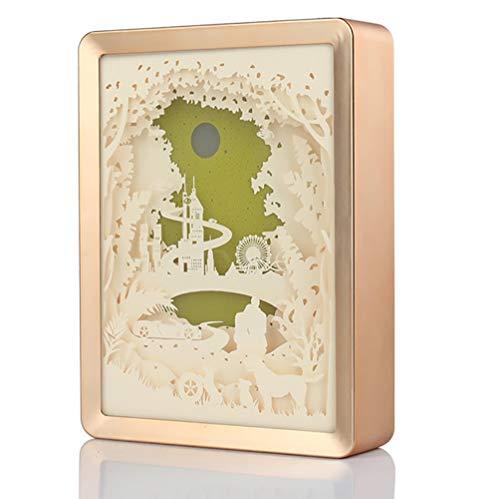 Caige Papercut Leuchtkästen, 3D Romantische Paar Licht Und Schatten Papier Skulptur Lampe Warm Romantische Atmosphäre, Kuchen Und Kreative,Gold