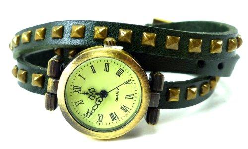 Wickelarmbanduhr Wickel Armband Uhr Leder grün mit Nieten U6-X