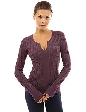 PattyBoutik Mujer Muesca del suéter del Cable del Cuello