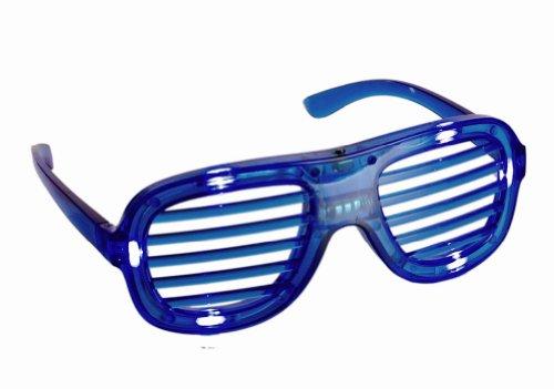 Preisvergleich Produktbild PartyBrille mit LED Blinkend Licht Brillen Atzendesign Atze Atzenbrille Shutter Shades Dikso Porno brille in Blau
