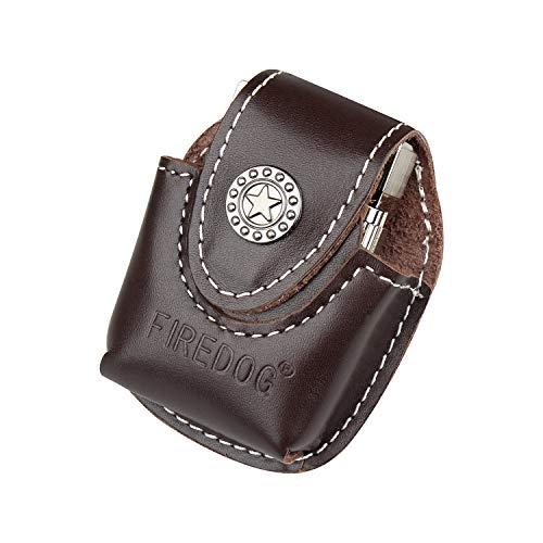 Accendino Pocket box Holder in vera pelle fatta a mano Fliptop con passante per cintura elettronico torcia accendino accendisigari della Black brown