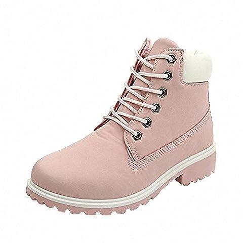 Damen Worker Boots Plüsch mit Gefütterte Winterstiefel warme Stiefel Schöne Prinzessin Rosa Gr.