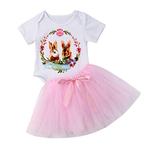 Infant Baby Ostern Tag Cartoon Kaninchen Print Overall Strampler + Tutu Röcke Outfits eingestellt (Weiß,100) ()