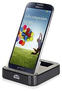 DONZO® Standard USB Dockingstation für Samsung Galaxy S4 IV GT-I9500 / GT-I9505 LTE + Akkufach in der Ladestation + USB Datenkabel + Ladegerät Netzteil - schwarz