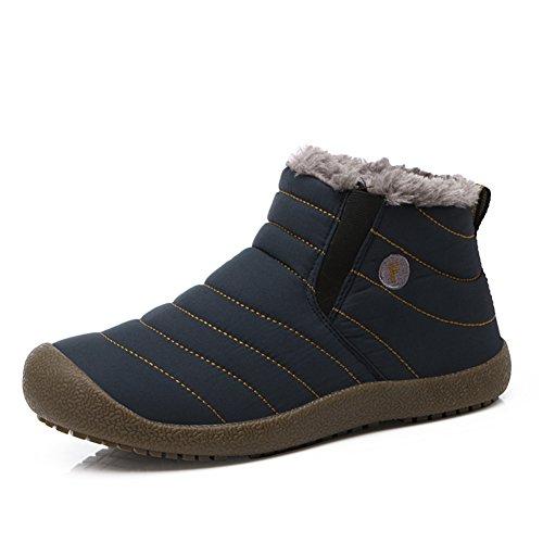 L-RUN Männer Kurze Stiefel gepolsterte Kragen Knöchel Pelz gefüttert Winterstiefel(41 EU,Blau) (Stiefel Knöchel Kragen)