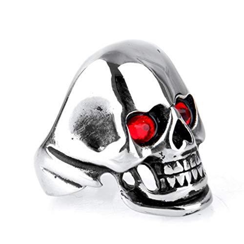 Beydodo Titan HerrenRing Punk Totenkopf Rot Zirkonia Freundschaftsring Silber Ring Gr.65 (20.7)