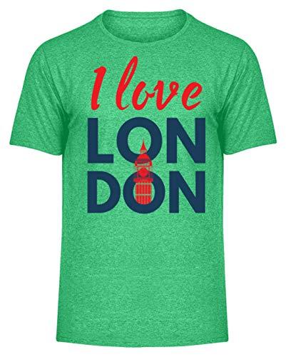 I Love London - Union Jack - Geschenkidee - England - Städtereise - Auslandsjahr - Tourist - Herren Melange Shirt -S-Heather Green