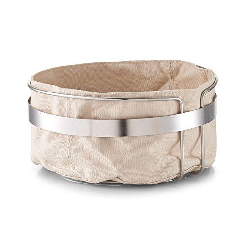 Zeller 27248Cesta de Pan con Bolsa, Metal/algodón, Beige, 22x 22x 10,8cm, algodón, Beige...