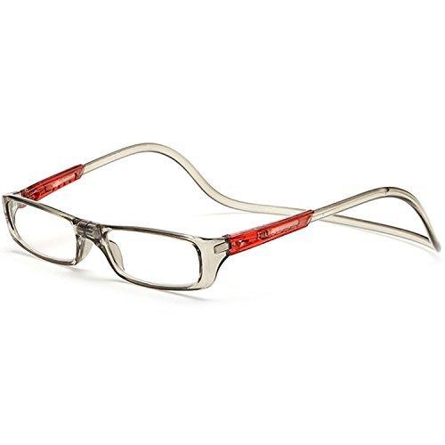 Brille/Vococal-Lesebrille/Reading Glasses-Lesebrillen Einstellbar Hängen Hals Magnet Lesebrille / Front Connect Click Magnetische Lesehilfe Presbyopie Brillen,+1.50D (Bügel Brillen Für)