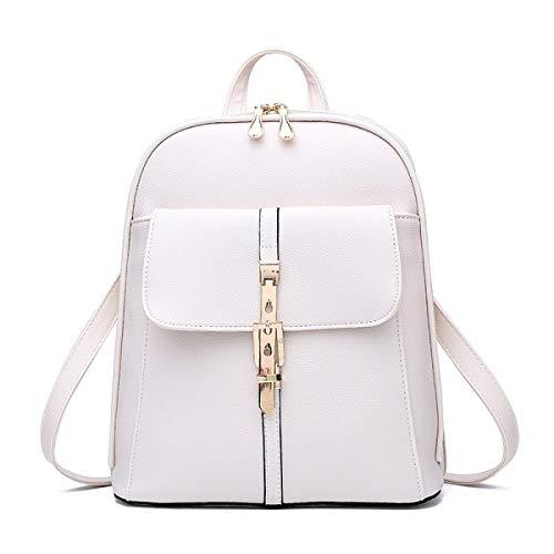 LEOO Lederrucksack für Frauen Elegante Damen Reisetasche (Farbe : Weiß)
