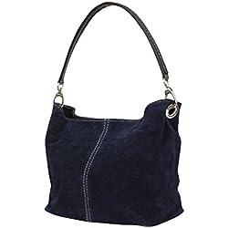 AMBRA–Bolso de cuero para mujer, WL807., color Azul, talla M