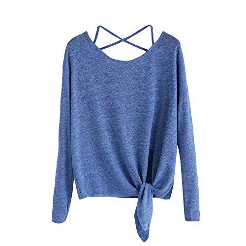 JiaMeng Damen Sweatshirt Sexy Cross langärmelige einfarbige Top Pullover Casual Stricken Bluse Langarm T-Shirt Tops