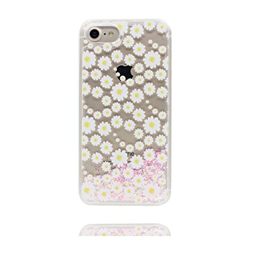 "iPhone 7 Plus Coque, Skin Hard Clear étui iPhone 7 Plus, Design Glitter Bling Sparkles Shinny Flowing (Marguerites) Apple iPhone 7 Plus Case Cover 5.5"", résistant aux chocs et ring Support # 2"
