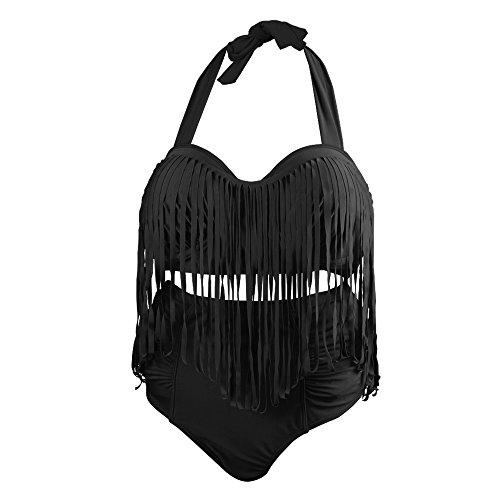 QUMAO Bikinis Damen Große Größen Bikini Set Plus Size Badenmode Badeanzug Badebekleidung Swimwear (2XL, Schwarz)