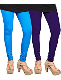 CAY 100% Cotton Combo of SkyBlue and Purple Color Plain, Stylish & Most Comfortable Leggings For Girls & Women with Full Length (SIZE : Free Size)