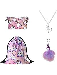 DRESHOW Confezione da 4 Zaini con coulisse e unicorno/Borsa per make up/Collana con catena in lega/Pendente con catena portachiavi borsetta