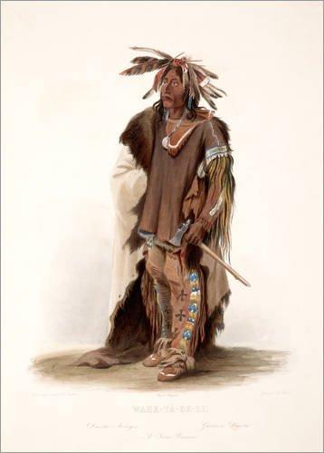 Staaten Vereinigten Traditionellen Kostüm - Posterlounge Alubild 70 x 100 cm: wahk TA ge li a Sioux Krieger von Karl Bodmer