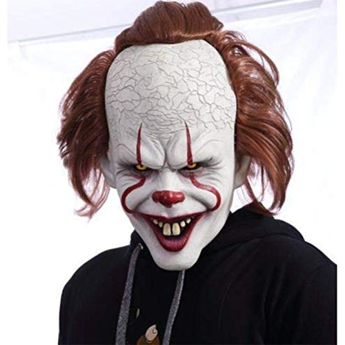 sdgfd Halloween Clown Maske - Erwachsene Horror Clown Joker Stephen Latex Kostüm Maske Scary Halloween Cosplay (Scary Kostüm Zu Machen)