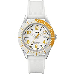 Timex-T2P007D7 Urban Women's Quartz Analogue Watch-White Silicon Strap White Dial