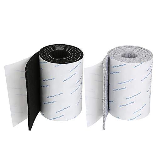Shintop 2 x Filzband Selbstklebend, Heavy Duty Filz Strip Rolle DIY Möbelgleiter Bodenschutz 100 x 10 cm (Schwarz + Grau) -