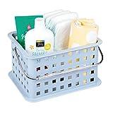 iDesign Basic Aufbewahrungkorb, kleiner Badkorb aus Kunststoff für Dusch- und Pflegezubehör, schieferblau
