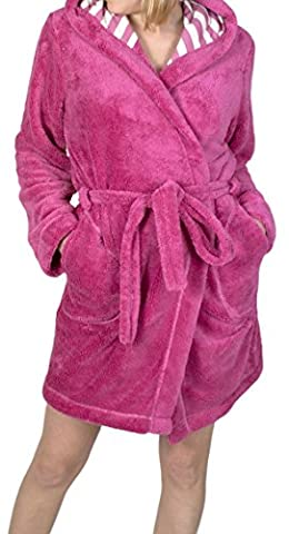 LL niedlicher Damen-Wellsoft-Mantel mit gestreifter Kapuze Kirsche+Weiß L