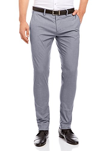 oodji Ultra Men's Lightweight Pant with Contrast Finish, Gray, ES 40 (M)